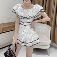 Two way flare shoulder lace suit(No.301248)
