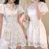 Bijou flower neck lace dress(No.301234)