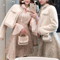 Fancy tweed piping jacket & dress set(No.300868)【2color】