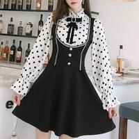 Dot blouse lady made dress(No.300878)【2color】
