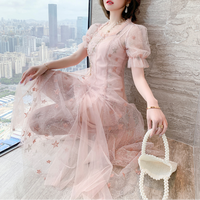 Baby pink star tulle long dress(No.301438)