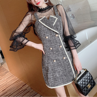 Lady like double button tweed dress(No.301662)【red , black】