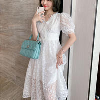 Elegant flower lacy long dress(No.301375)
