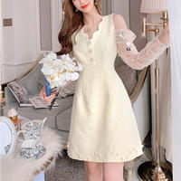 Tulle sleeve scallop cut dress(No.302046)