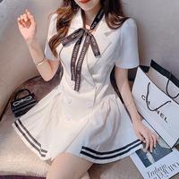 Message ribbon mono pleats dress(No.302164)【2color】