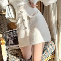 Eco-fur bijou button skirt(No.301947)【white】
