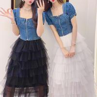 一部即納♡Puff sleeve denim & tulle skirt setup(No.301300)【pink , black , white】