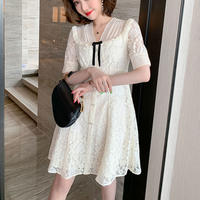 Elegant petite ribbon lace dress(No.301179)【white , black】
