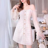 Two way fairy sleeve tweed dress(No.301517)
