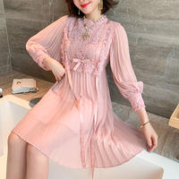 Lady pink pleats ribbon dress(No.301223)
