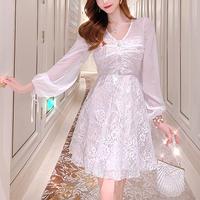 Feminine pearl button lace dress(No.301514)