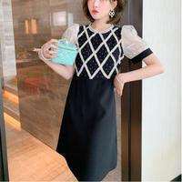 Design bijou tulle puff sleeve dress(No.302344)
