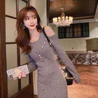 Off shoulder knit long wear dress(No.301703)【black , gray】