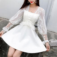 Volume sleeve lacy dress(No.301053)【black , white】