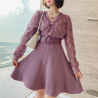 Flower ruffle blouse & knit skirt set(No.301574)【black , purple】