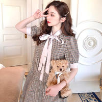 Sugar pink brown glen check dress(No.302143)