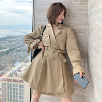 Lady quilting trench mini dress coat(No.301865)【black ,beige】