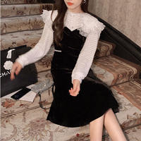 Big lace collar blouse & velour midi dress(No.031002)