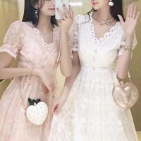 Décolleté cutting pearl button dress(No.301185)【blue , white , pink】