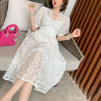 Lacy puff sleeve long dress(No.301143)