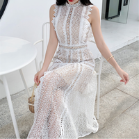 Muse white cutting lace long dress(No.301488)