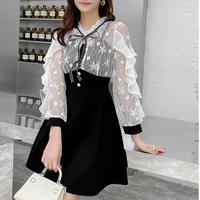 Ruffle frill sleeve dress(No.301025)【white , black】