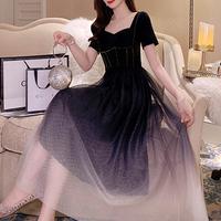 Long tulle black tone dress(No.301081)