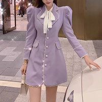 Muse lavender puff sleeve coat(No.301810)