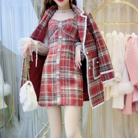 Merry check dolly  jacket & dress set(No.301866)【black , blue , red】