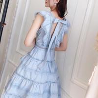 Back ribbon frill dress(No.300640)