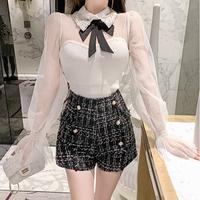 Classical ribbon kint & tweed pants set(No.300755)