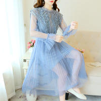 Bijou big collar tulle long dress(No.301003)【5color】