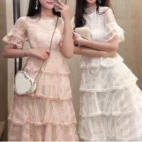 Simple check lacy long dress(No.301103)【2color】