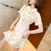 Lady pearl button shirt dress(No.301322)