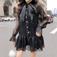Big ribbon point pearl shirt dress(No.300998)【2color】