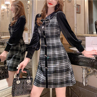 Lady velour black check dress(No.301532)