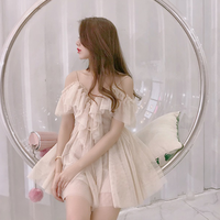 Baby pink beige tulle blouse(No.301500)