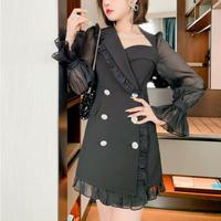 Asymmetry design double button dress(No.030944)【black】