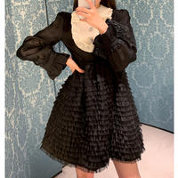 Petite frill chic mono dress(No.302034)