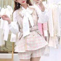 Elegant check tweed setup(No.301642)【black , pink】