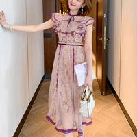Elegant flower lace long dress(No.301218)