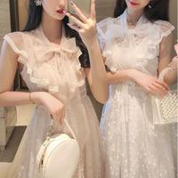 Dot tulle ribbon long dress(No.301095)【2color】