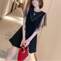 Fairy cut dot tulle docking dress(No.301325)【white , black】