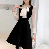 Simple ribbon docking black dress(No.300974)
