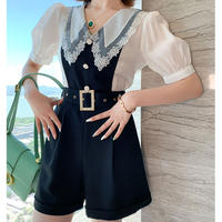 Lace collar shirt belted suit(No.301323)