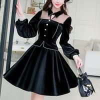 Velour chic black dress(No.300949)