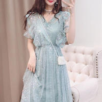 Fairy color lace long dress(No.300701)