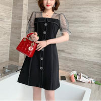 Dot tulle puff sleeve black dress(No.301176)