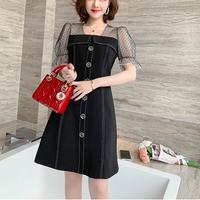 Dot tulle puff sleeve black dress(No.301176)