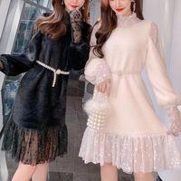 Poodle fur touch lacy dress(No.300886)【2color】